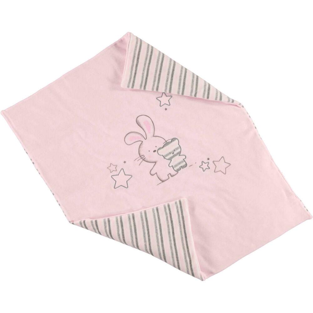 iDO baba meleg csíkos pléd kiságyba puha plüssből 0-tól 18 hónapos korig - rózsaszín - Bunny and Teddy
