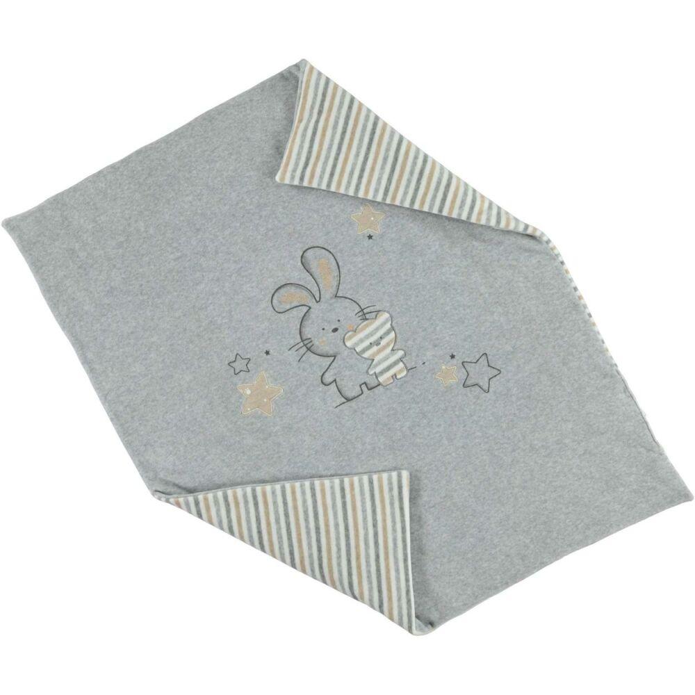 iDO baba meleg csíkos pléd kiságyba puha plüssből 0-tól 18 hónapos korig - szürke - Bunny and Teddy