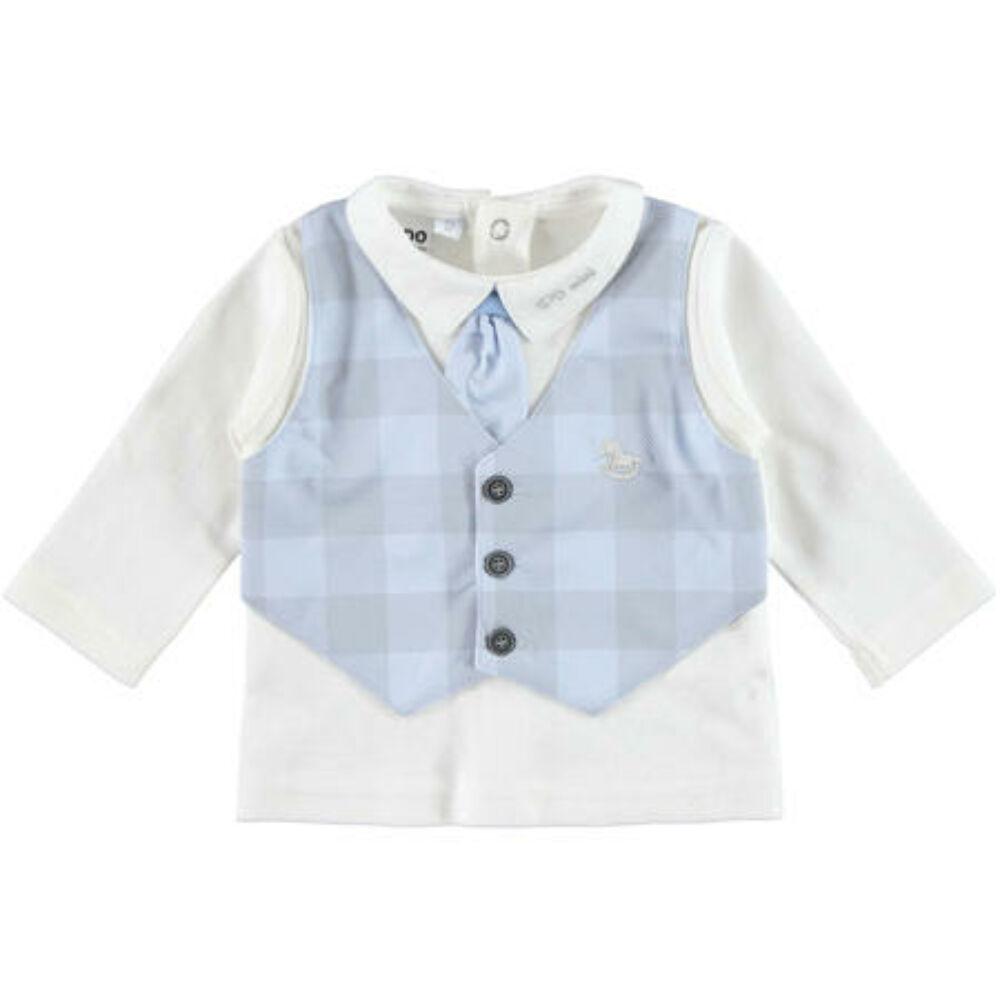 iDO elegáns pamut póló mellénykével és nyakkendővel - világoskék - Bunny and Teddy