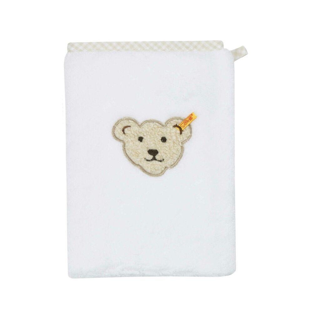 Steiff mosdókesztyű- fehér- Bunny and Teddy