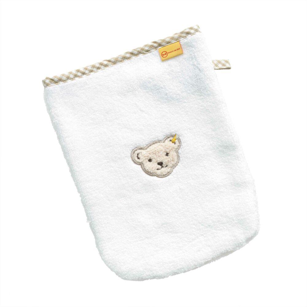 Steiff mosdókesztyű- Basic kollekcó fehér    Bunny and Teddy