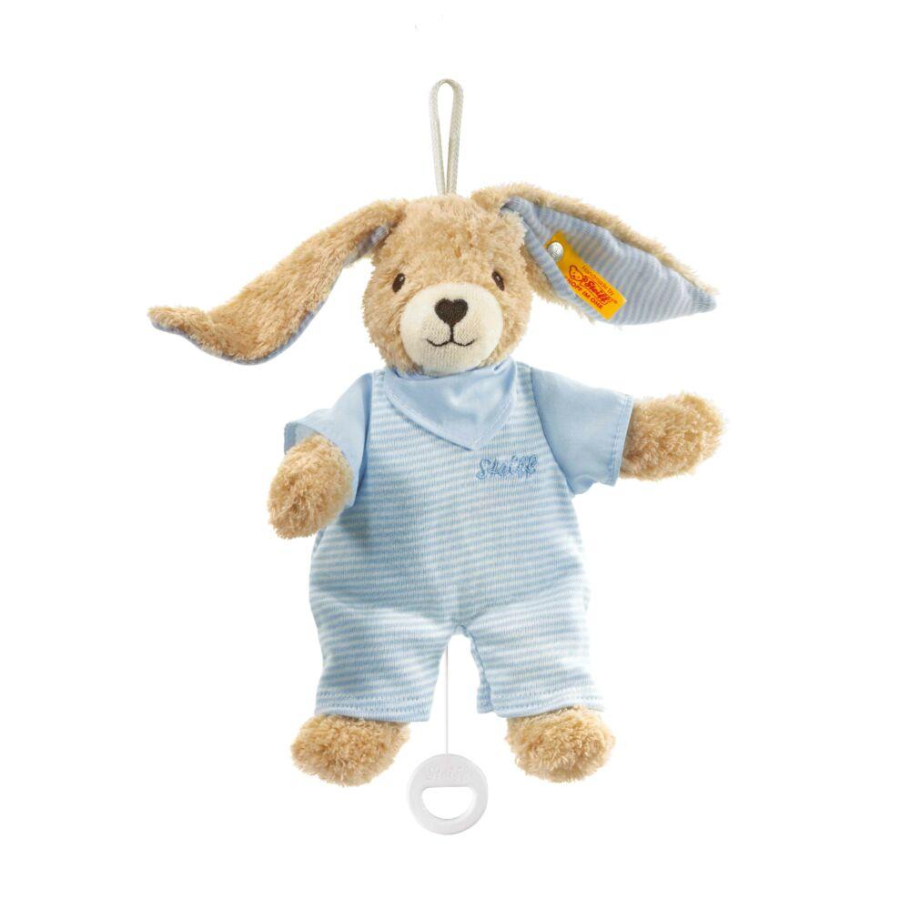 Steiff Hoppel felhúzható zenélő nyuszi biopamutból- kék- Bunny and Teddy