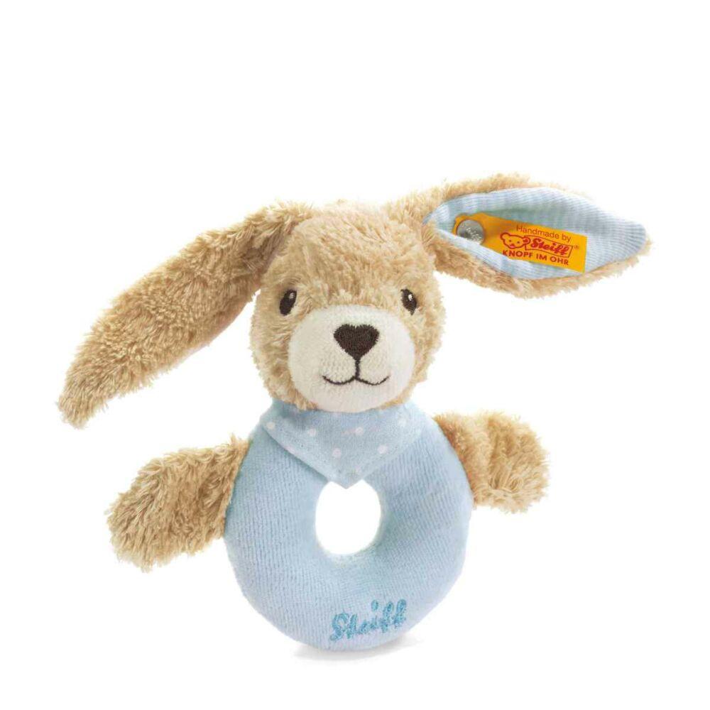 Steiff Hoppel Nyuszi csörgő biopamutból- világos kék- Bunny and Teddy