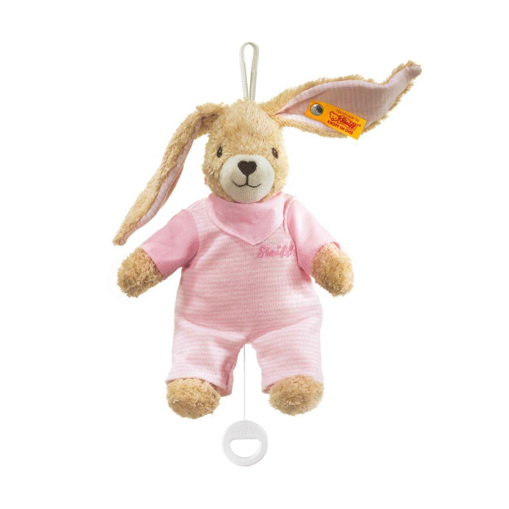 Steiff Hoppel felhúzható zenélő nyuszi biopamutból- rózsaszín- Bunny and Teddy