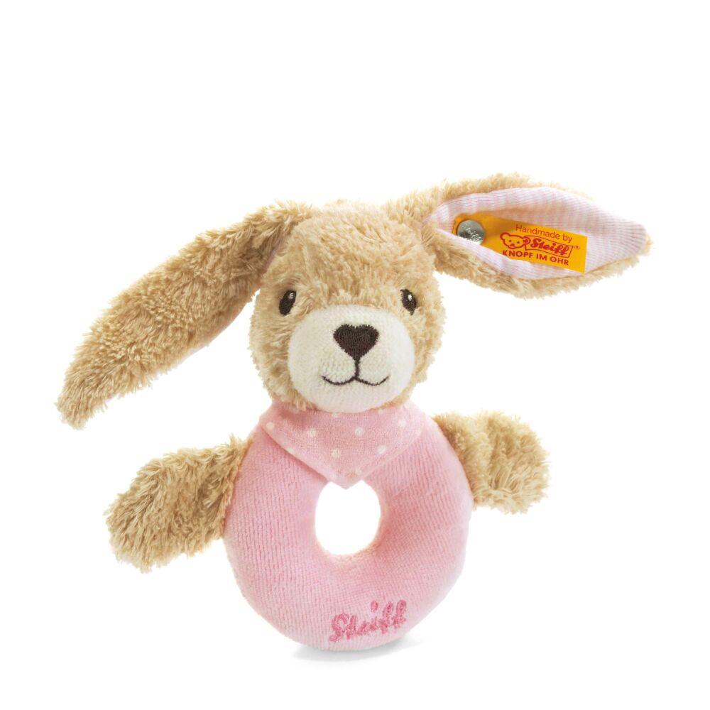 Steiff Hoppel Nyuszi csörgő biopamutból- világos rózsaszín- Bunny and Teddy