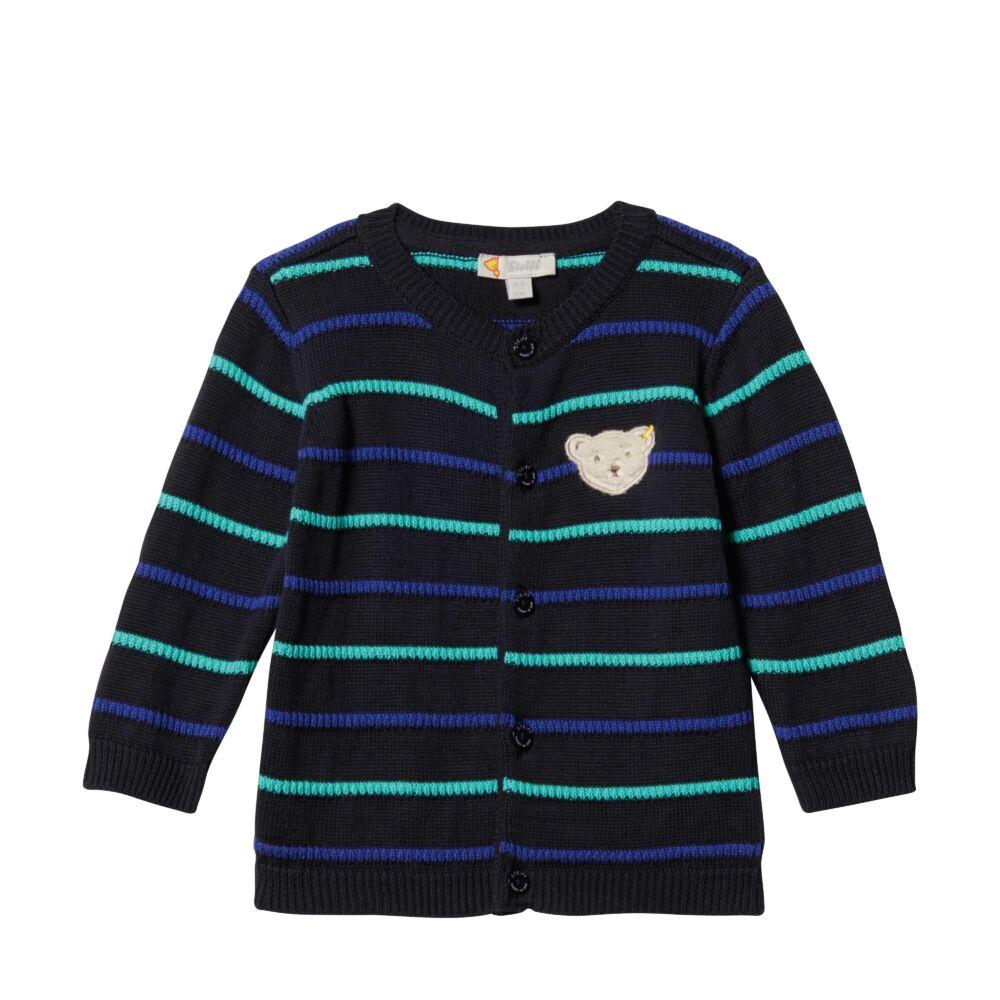 Steiff kötött kardigán- sötét kék/fekete- Bunny and Teddy
