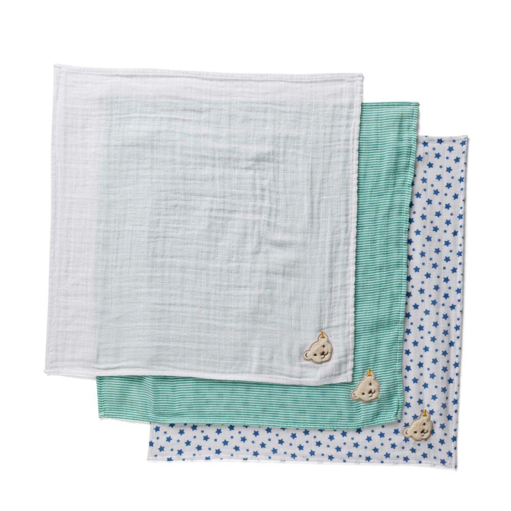 Steiff textilpelenka 3db-os csomag- fehér- Bunny and Teddy