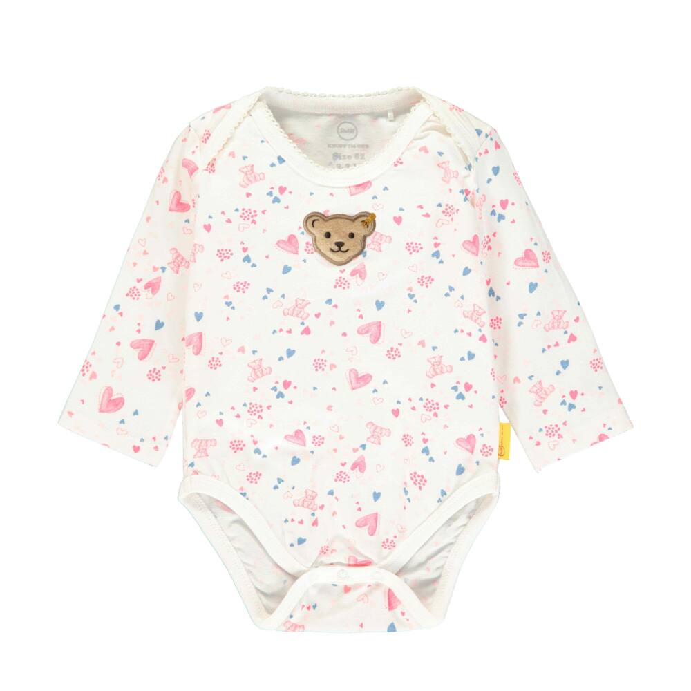 Steiff kislány rövid ujjú pamut body macival és szívecskével - Bear in my heart kollekció-krém-Bunny and Teddy