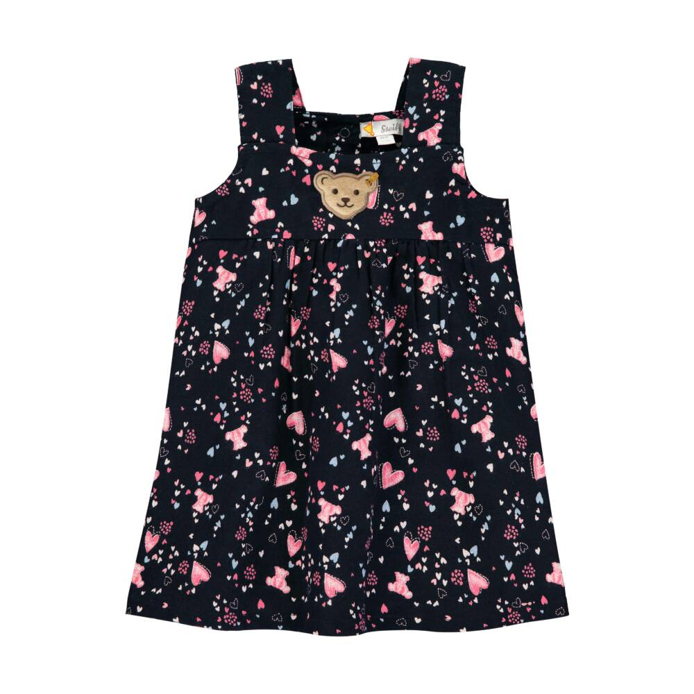 Steiff sötét kék színű kislány ruha macis és szívecskés mintával - Bear in my heart kollekció-sötét kék/fekete-Bunny and Teddy