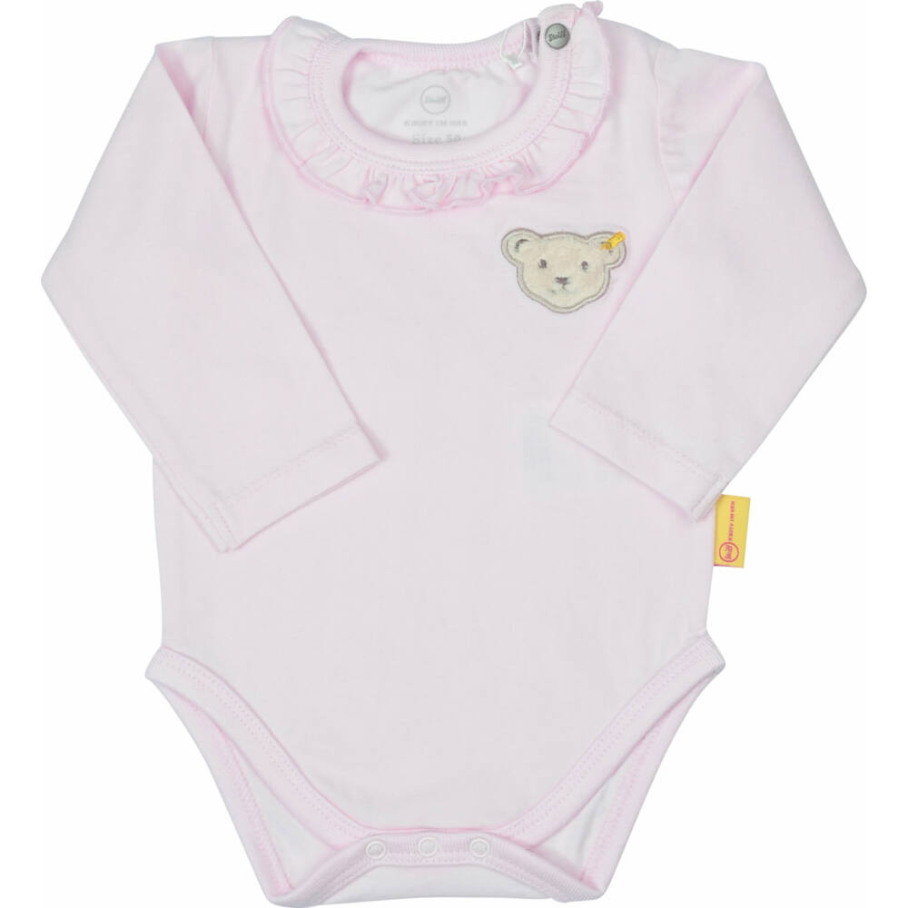 Steiff kislány hosszú ujjú nyakán patentos body fodrokkal rózsaszín színben - Bear in my heart kollekció-világos rózsaszín-Bunny and Teddy