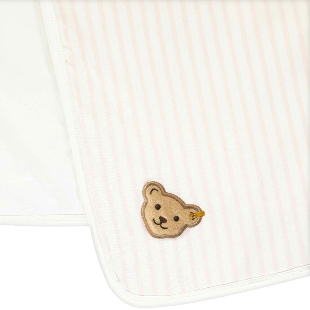 Steiff klasszikus csíkos takaró, babapléd kislányoknak - Bear in my heart kollekció-krém-Bunny and Teddy