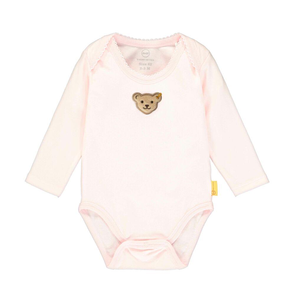 Steiff hosszú ujjú boríték nyakú rózsaszín kislány pamut body - Bear in my heart kollekció-világos rózsaszín-Bunny and Teddy