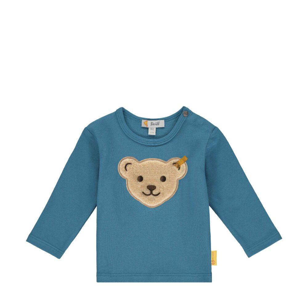 Steiff hosszú ujjú póló nagy macifejjel az elején kisfiúknak - Bear Blues kollekció-türkiz-Bunny and Teddy