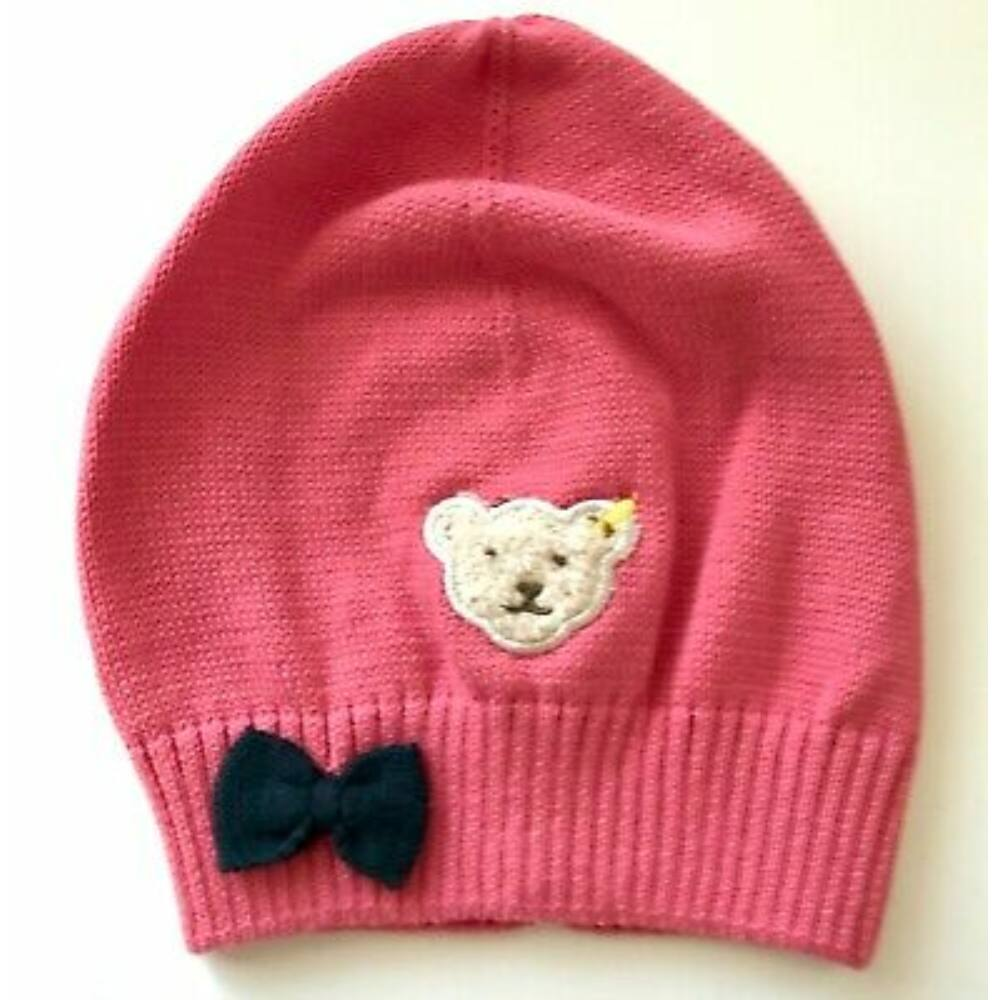 Steiff kötött sapka masnival kislányoknak - Heartbeat kollekció-rózsaszín-Bunny and Teddy