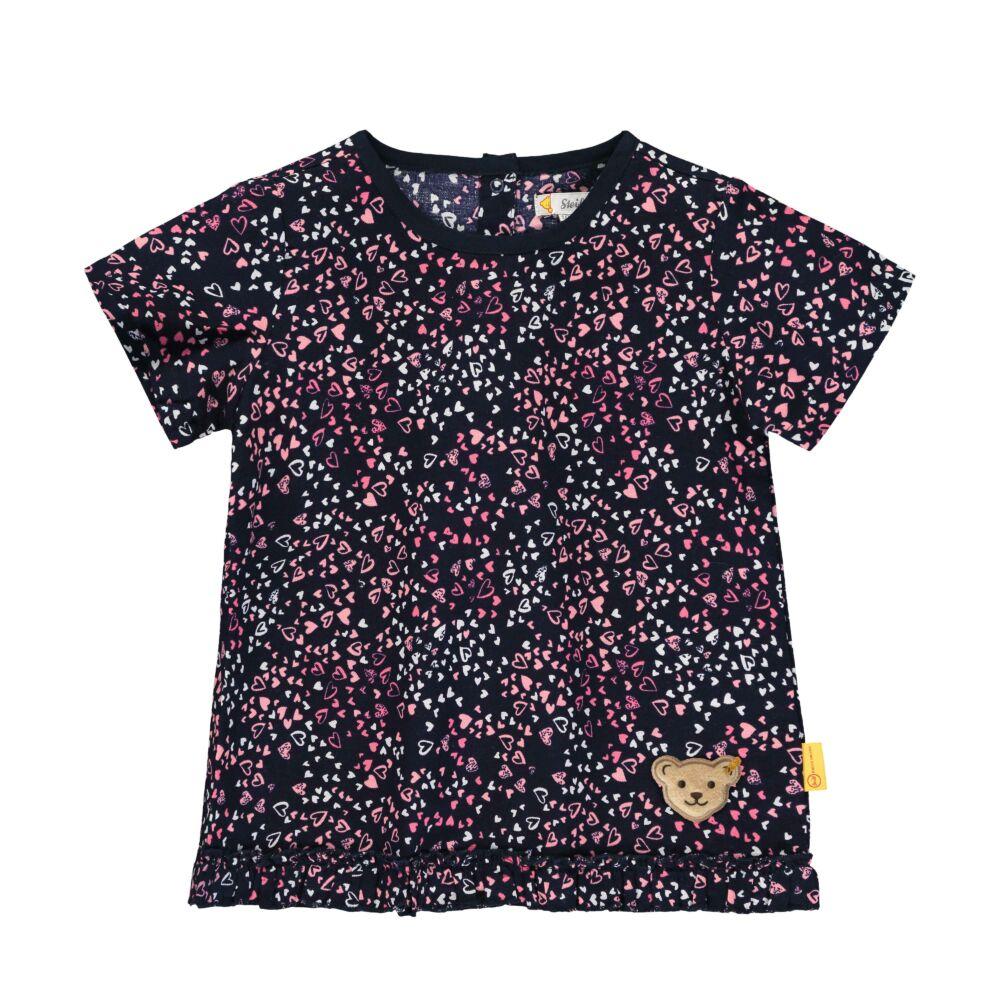 Steiff rövid ujjú szívecske mintás pamut póló fodrokkal az alján - Heartbeat kollekció-sötét kék/fekete-Bunny and Teddy