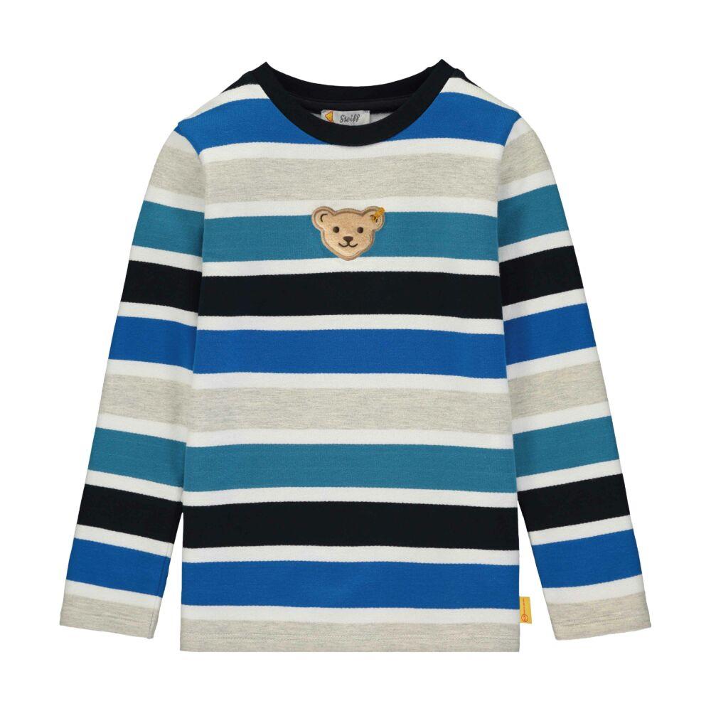 Steiff csíkos pulóver puha pamutból kisfiúknak - Go Bear Go kollekció-sötét kék/fekete-Bunny and Teddy