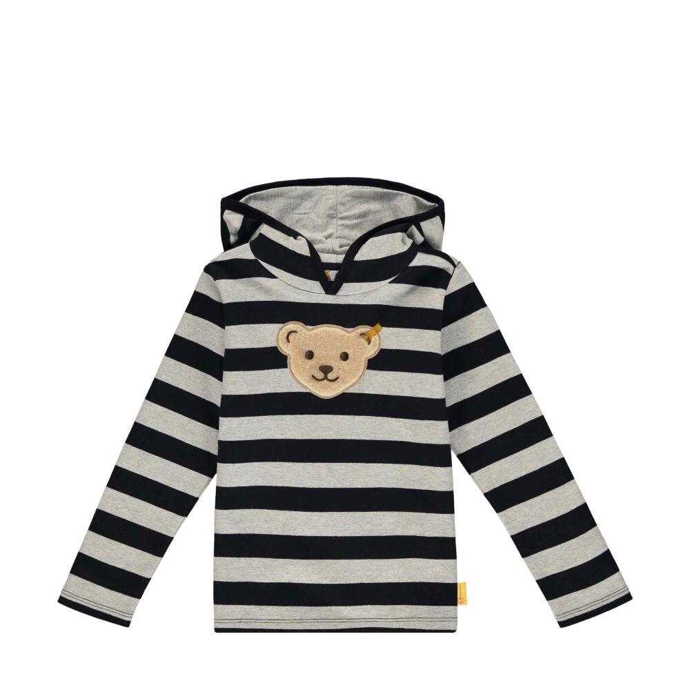 Steiff Csíkos pulóver puha pamutból nagy kapucnival - Go Bear Go kollekció-sötét kék/fekete-Bunny and Teddy