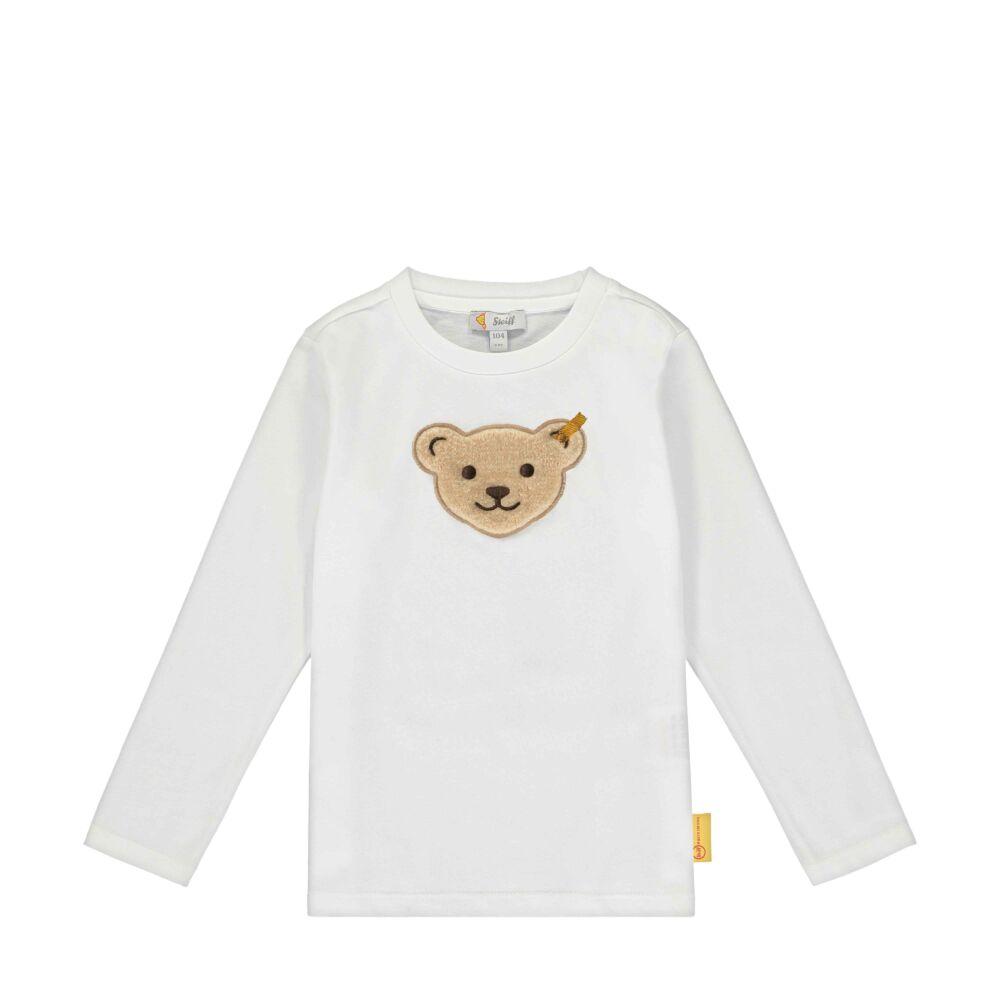 Steiff hosszú ujjú egyszinű póló kisfiúknak - Go Bear Go kollekció-fehér-Bunny and Teddy