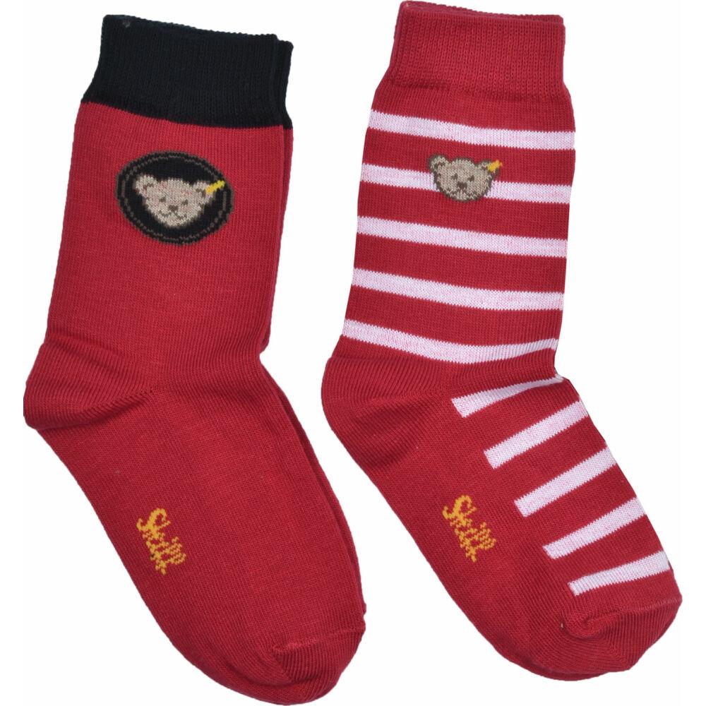 Steiff 2db-os zokni csomag kisfiúknak - Mini kollekció-piros-Bunny and Teddy