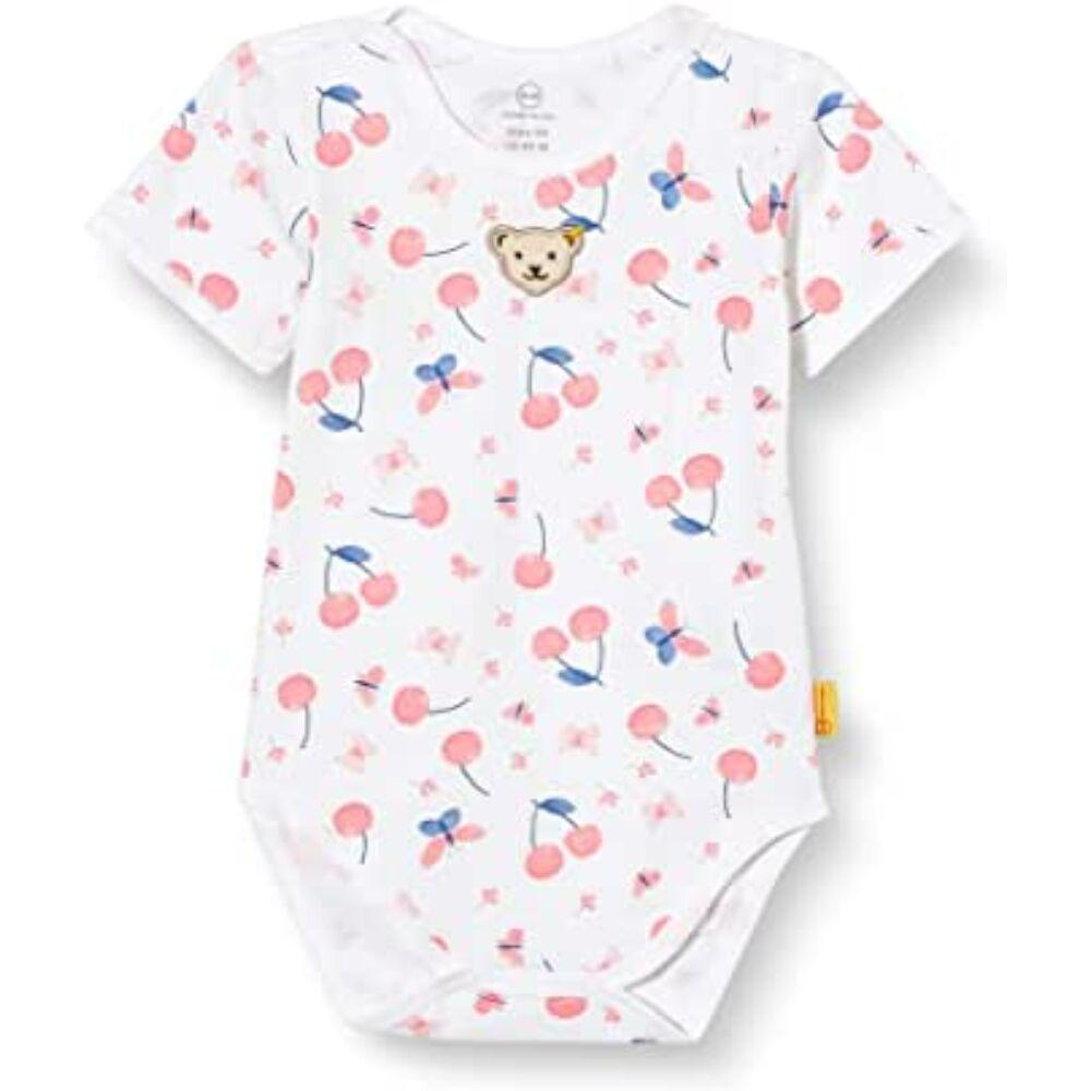 Steiff cseresznye mintás boríték nyakú rövid ujjú pamut body - Bear & Cherry kollekció - fehér - Bunny and Teddy
