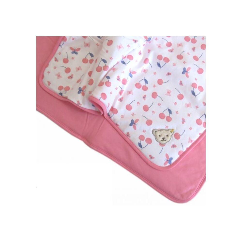 Steiff puha pamut takaró cseresznye mintával mérete 95cm x 62cm - Bear & Cherry kollekció - fehér - Bunny and Teddy