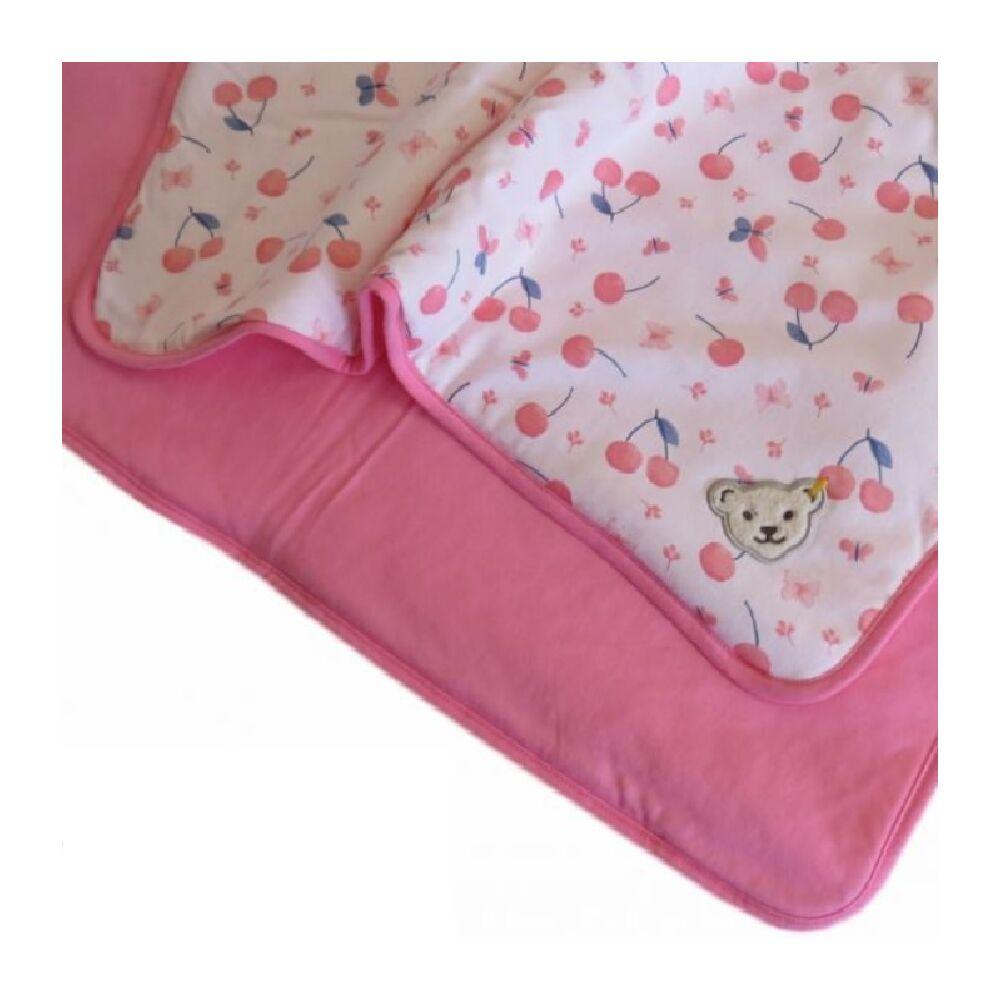 Steiff puha pamut takaró cseresznye mintával mérete 95cm x 62cm - Bear & Cherry kollekció - világos rózsaszín - Bunny and Teddy