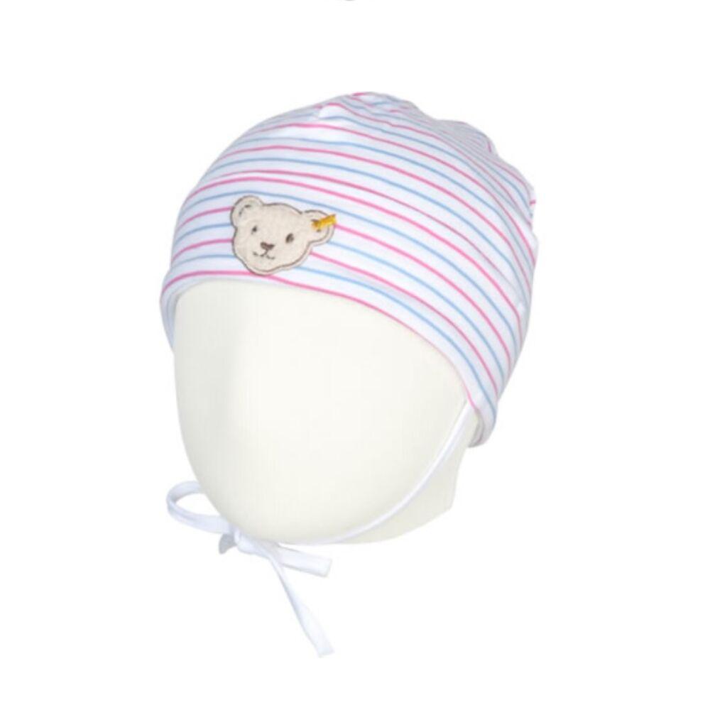 Steiff csíkos pamut baba sapka - Bear & Cherry kollekció - fehér - Bunny and Teddy