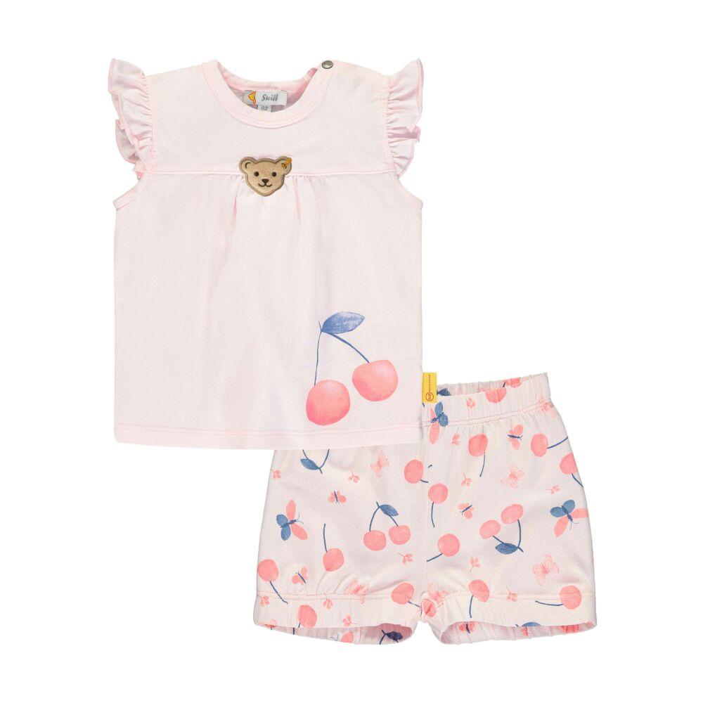 Steiff fodros ujjú felső felső és cseresznye mintás rövidnadrág szett - Bear & Cherry kollekció - világos rózsaszín - Bunny and Teddy