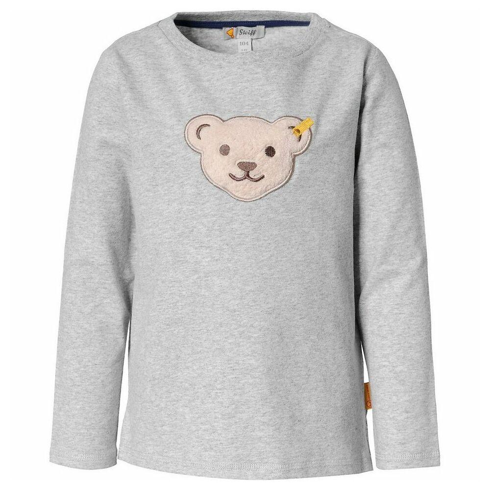 Steiff hosszú ujjú pamut póló sípoló hangot kiadó macival Safari Bear - mini boys kollekció - szürke - Bunny and Teddy