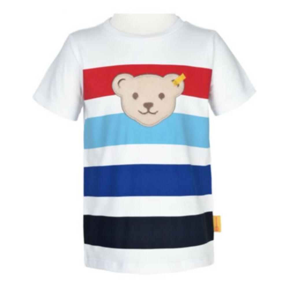 Steiff rövid ujjú csíkos póló  Safari Bear - mini boys kollekció - fehér - Bunny and Teddy