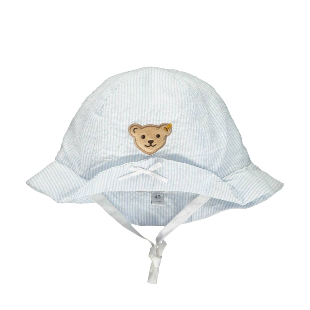 Steiff csíkos nyári baba kalap - Special Day - baby girls kollekió - világoskék - Bunny and Teddy
