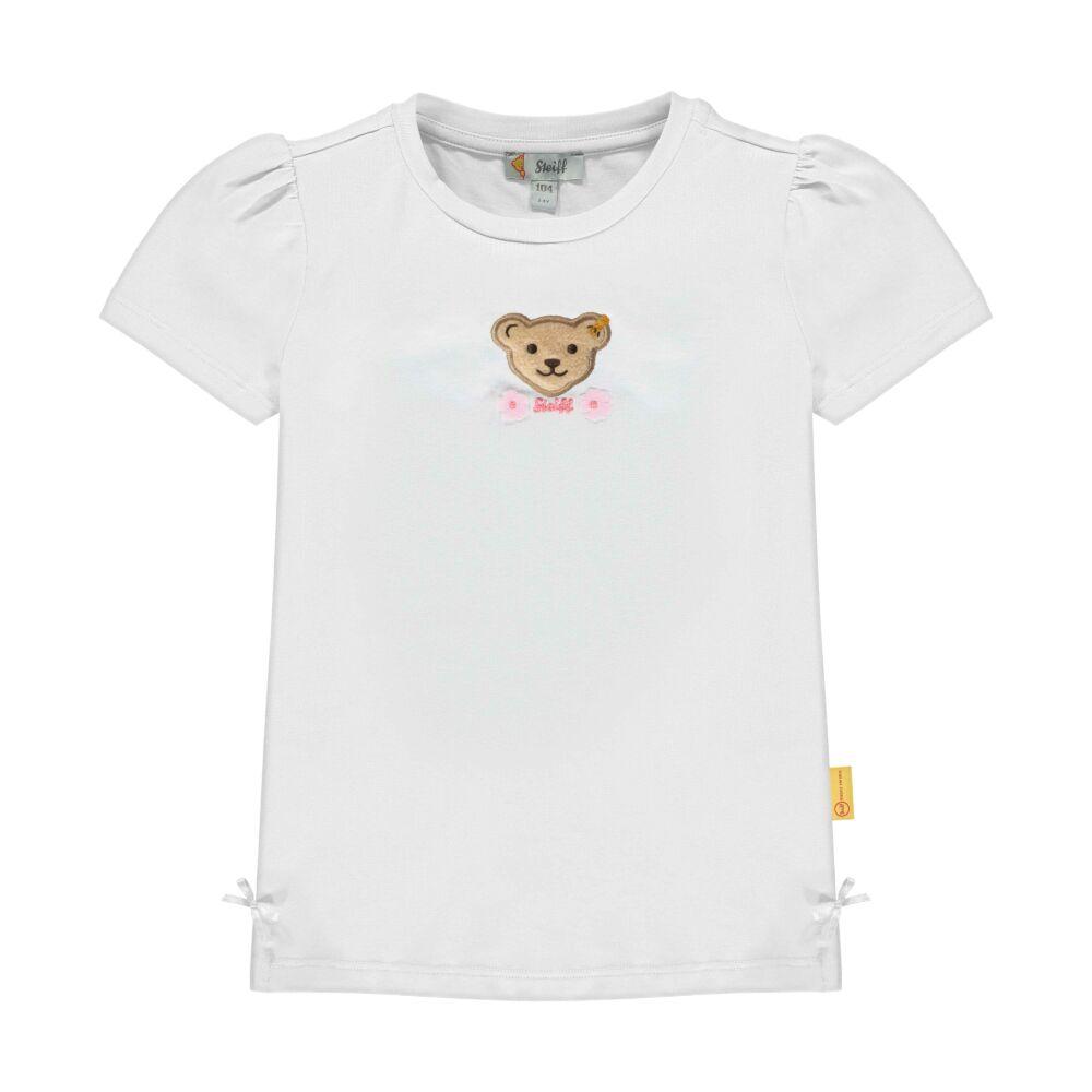 Steiff rövid ujjú pamut póló kislányoknak macival és virágokkal az elején - Special day - mini girls kollekió - fehér - Bunny and Teddy