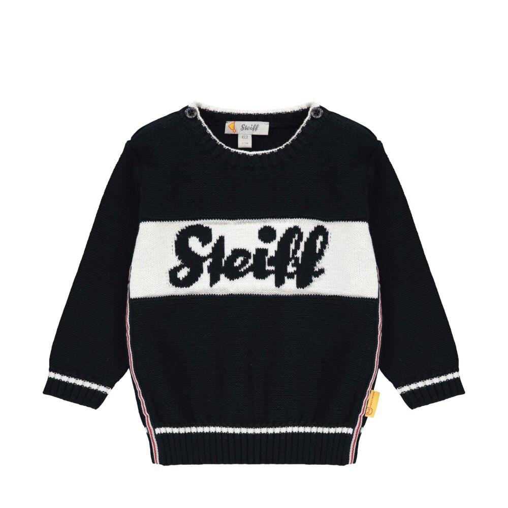 Steiff kötött pulóver kifiúknak- Baby Boys - Bear to School kollekcó sötétkék/fekete  | Bunny and Teddy