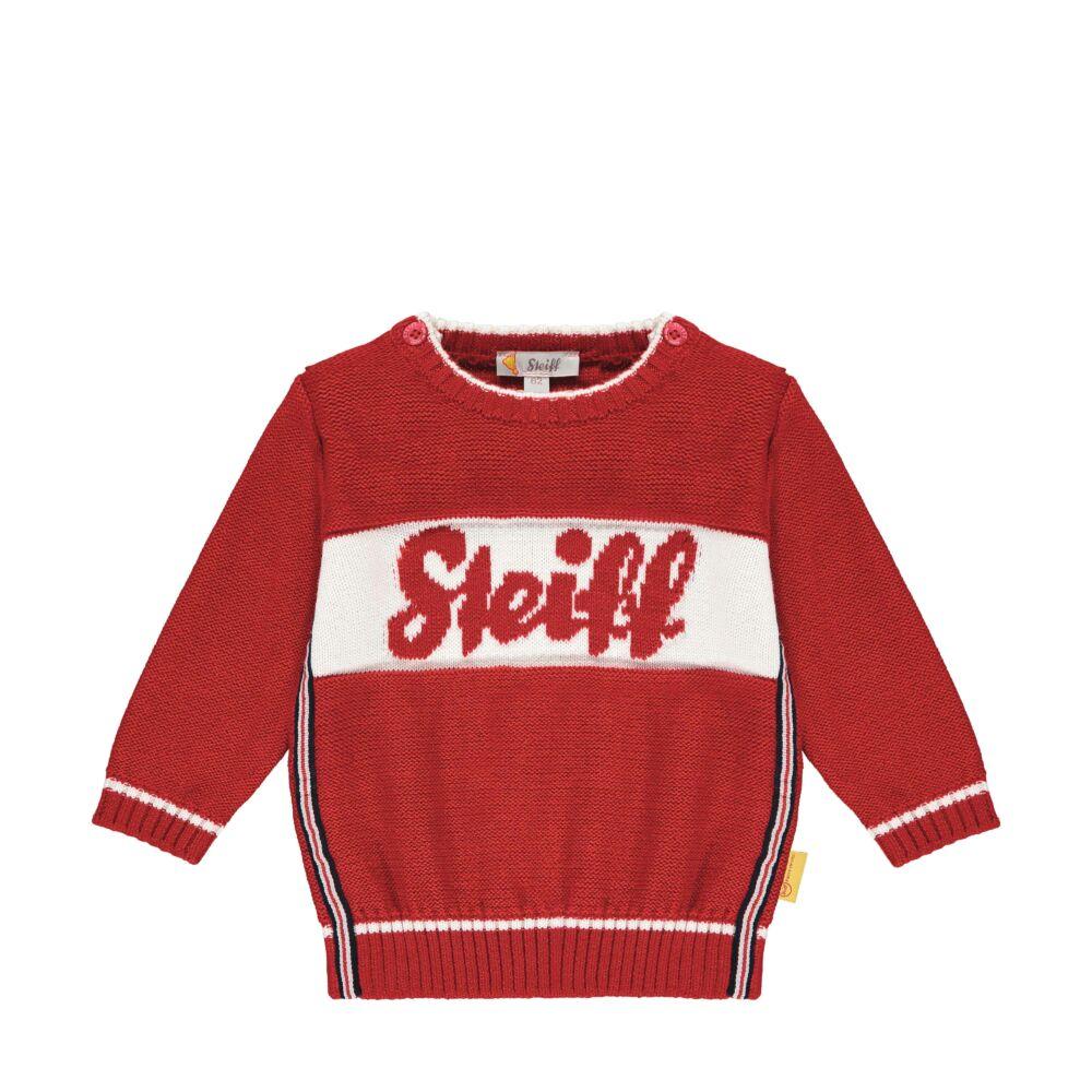 Steiff kötött pulóver kifiúknak- Baby Boys - Bear to School kollekcó piros  | Bunny and Teddy