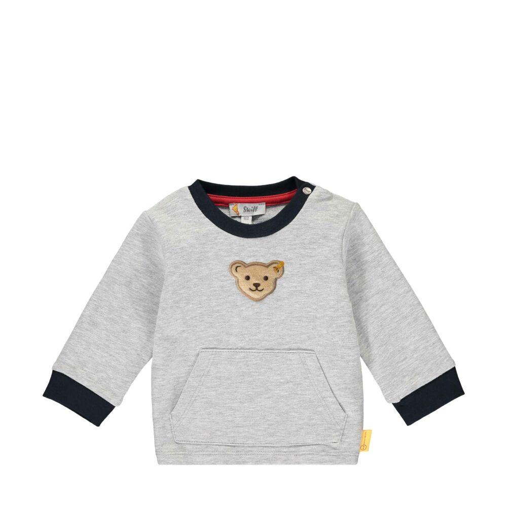 Steiff kenguruzsebes pamut pulóver melegítő felső- Baby Boys - Bear to School kollekcó szürke  | Bunny and Teddy