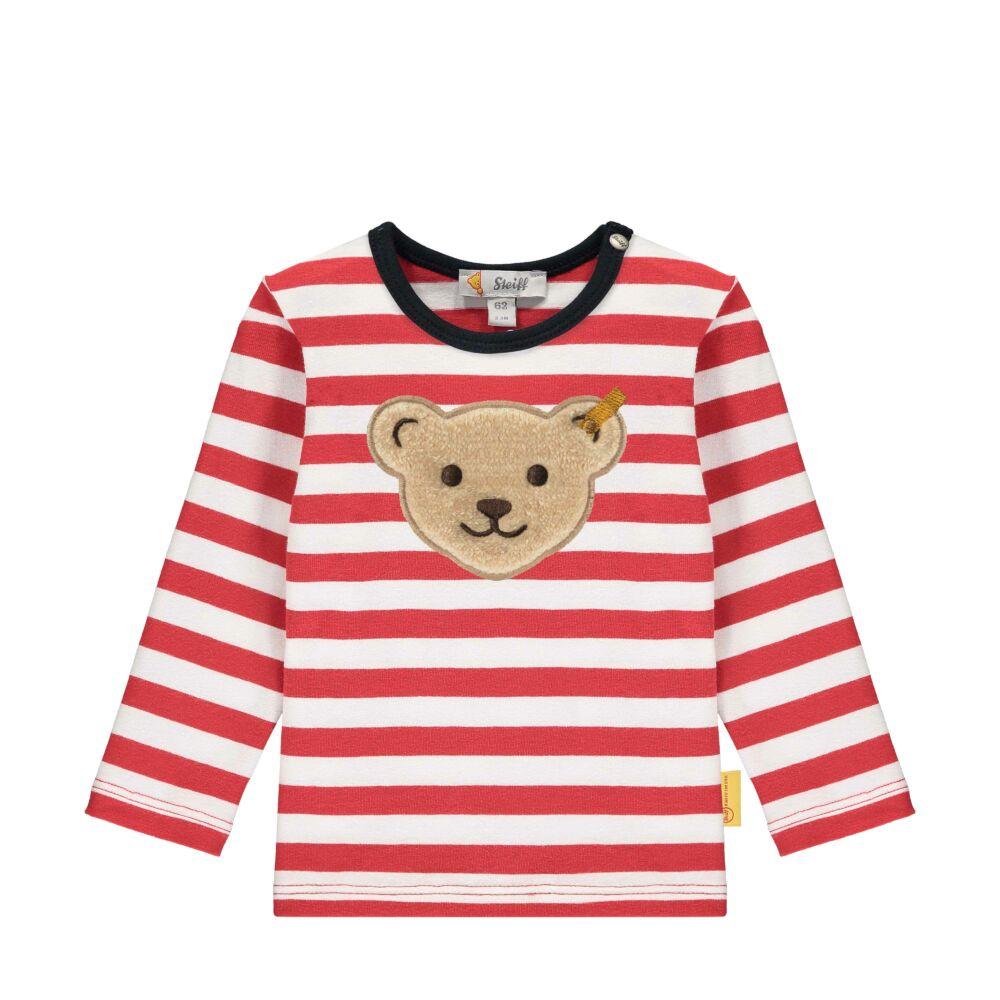 Steiff hosszú ujjú csíkos kisfiú pamut póló- Baby Boys - Bear to School kollekcó piros  | Bunny and Teddy