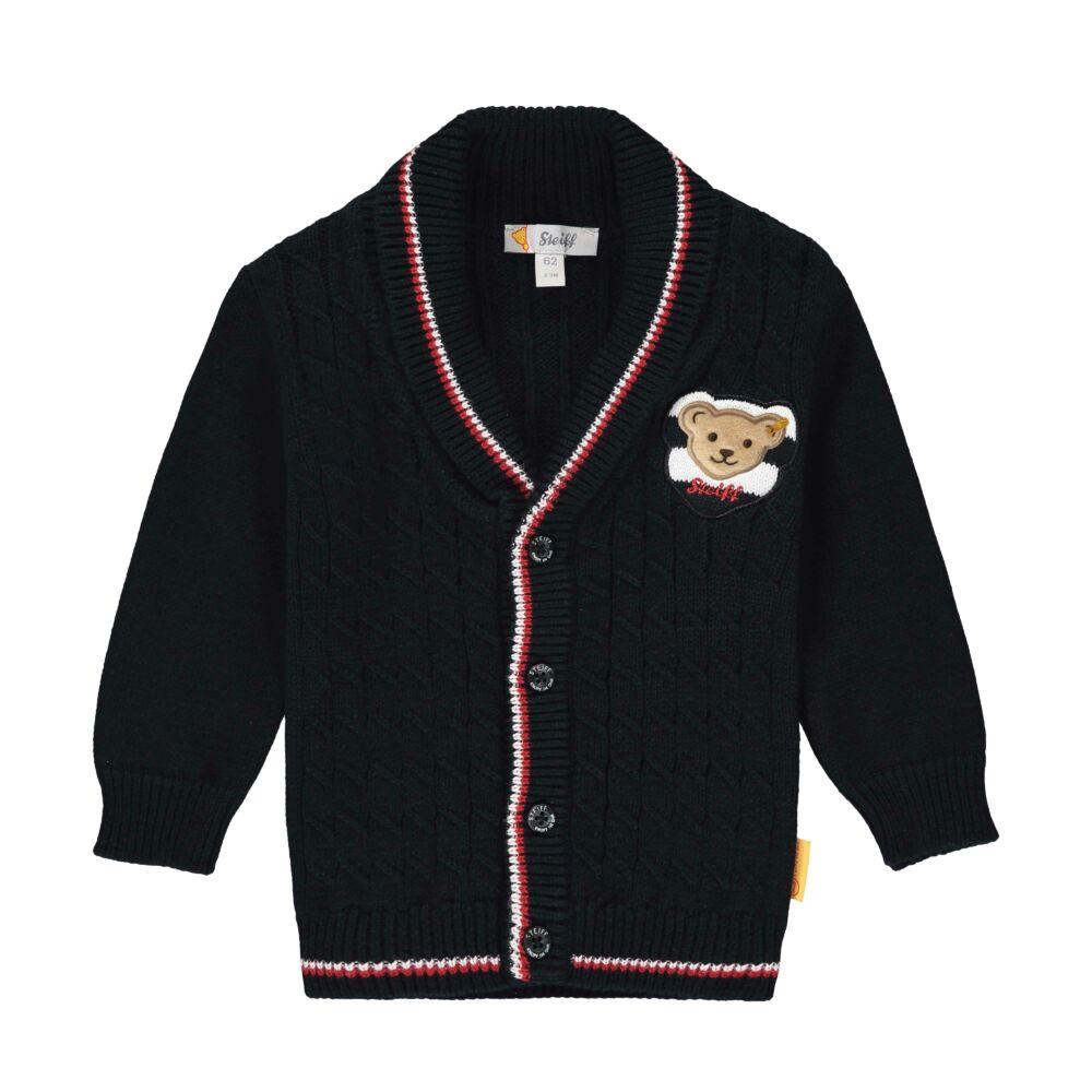Steiff kötött kardigán kisfiúknak- Baby Boys - Bear to School kollekcó sötétkék/fekete  | Bunny and Teddy