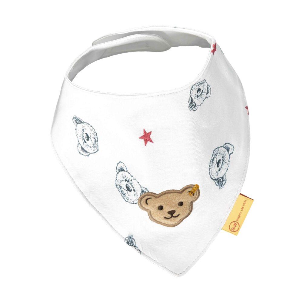 Steiff nyomott mintás háromszög alakú kendő- Baby Boys - Bear to School kollekcó fehér    Bunny and Teddy