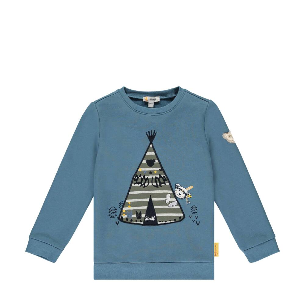 Steiff pamut pulóver macival és indián sátorral- Mini Boys - Indi Bear kollekcó kék    Bunny and Teddy