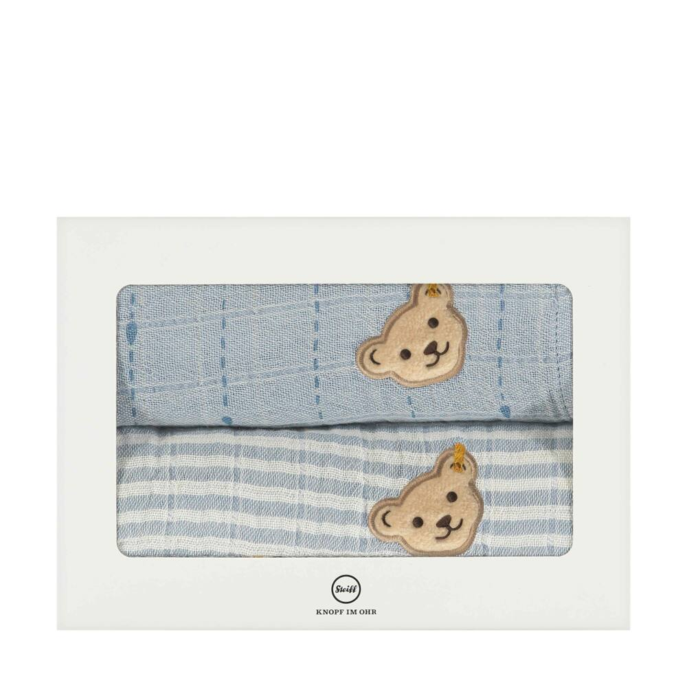 Steiff 2 darabos textilpelenka szett biopamutból díszdobozban- Baby Organic - Raindrops kollekcó világos kék    Bunny and Teddy