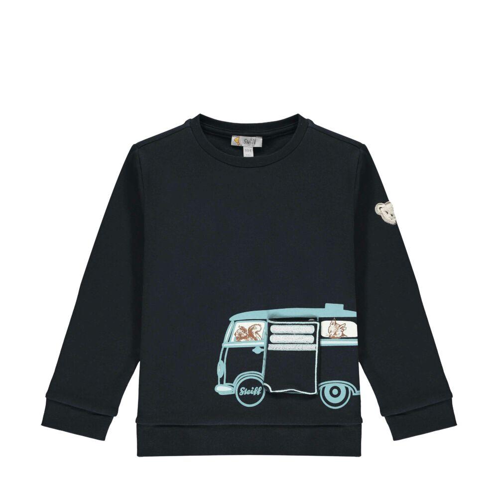 Steiff pamut pulóver erdei állatokkal- Mini Boys - Forest Friends kollekcó sötétkék/fekete  | Bunny and Teddy