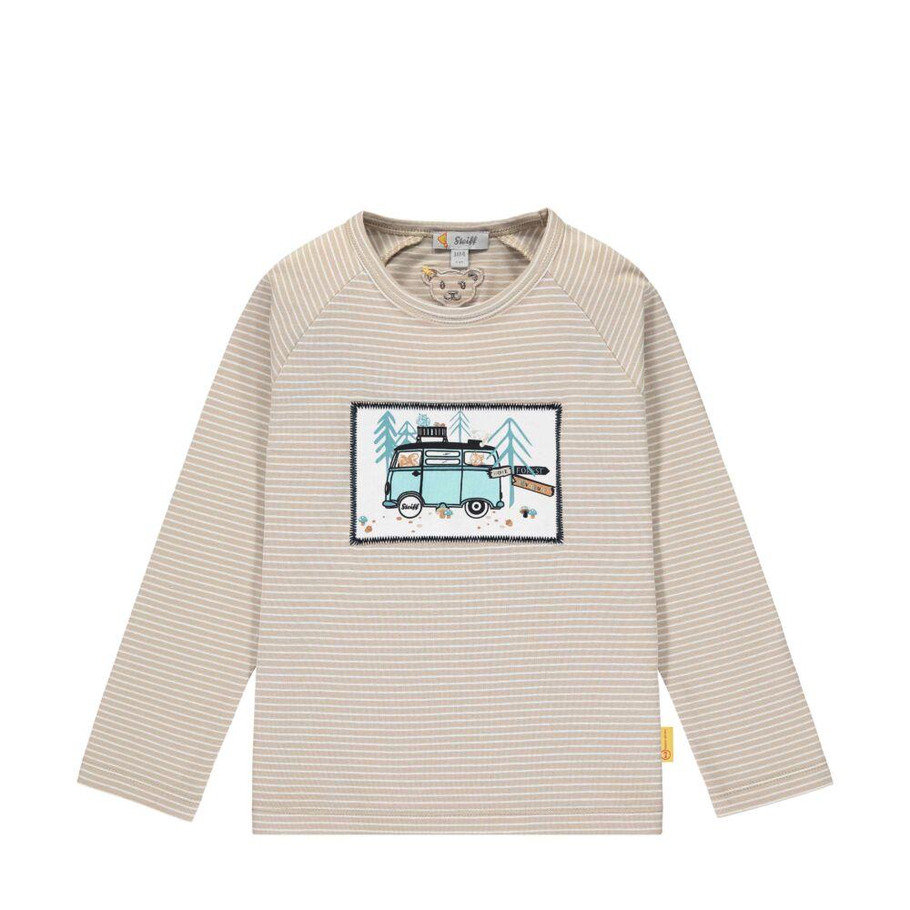 Steiff hosszú ujjú pamut póló erdei mintával- Mini Boys - Forest Friends kollekcó bézs    Bunny and Teddy