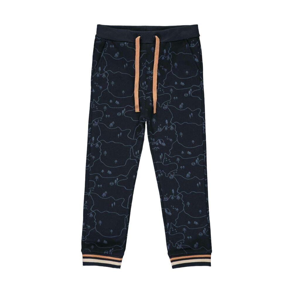 Steiff melegítő alsó erdei mintával- Mini Boys - Forest Friends kollekcó sötétkék/fekete  | Bunny and Teddy