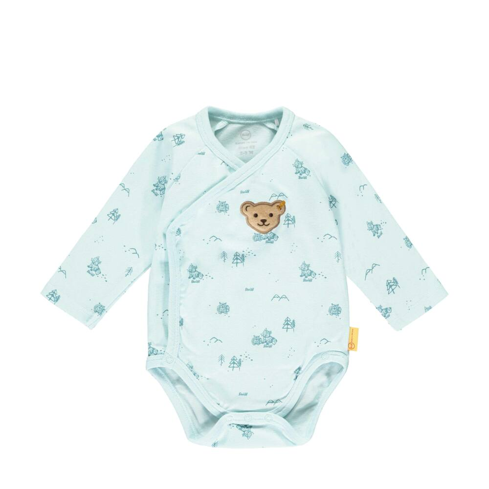 Steiff hosszú ujjú átlapolós body erdei mintával- Baby Boys - Forest Friends kollekcó kék    Bunny and Teddy