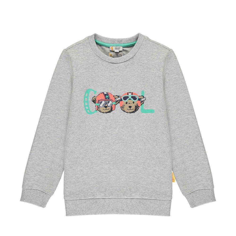 Steiff pamut pulóver, melegítő felső cool felirattal- Mini Boys - High 5! kollekcó szürke    Bunny and Teddy