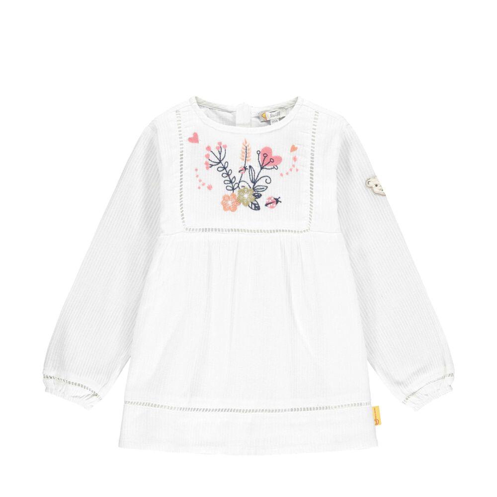 Steiff hosszú ujjú pamut blúz- Mini Girls - Bugs Life kollekcó fehér  | Bunny and Teddy