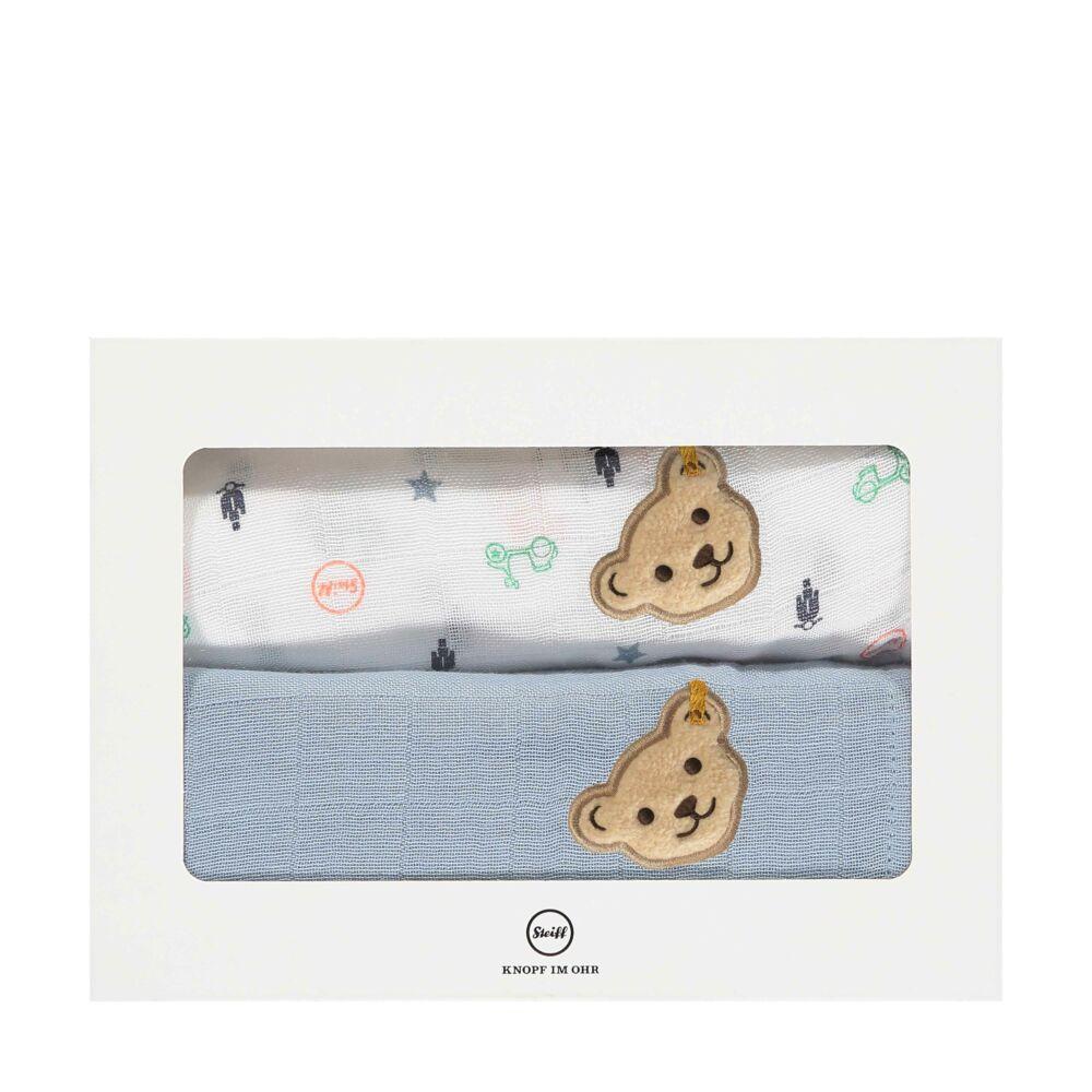 Steiff textilpelenka 2db-os csomagban- Baby Boys - High 5! kollekcó világos kék    Bunny and Teddy