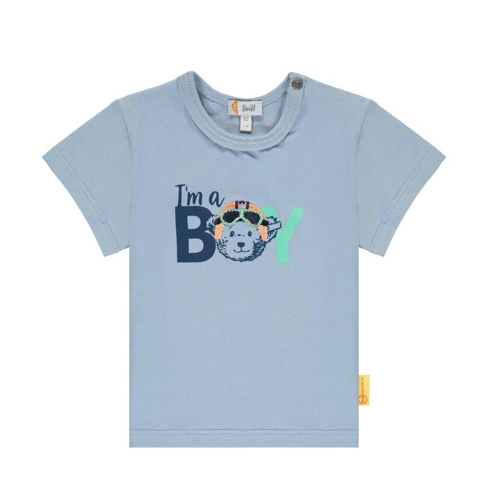 Steiff rövid ujjú póló BOY felirattal- Baby Boys - High 5! kollekcó világos kék  | Bunny and Teddy