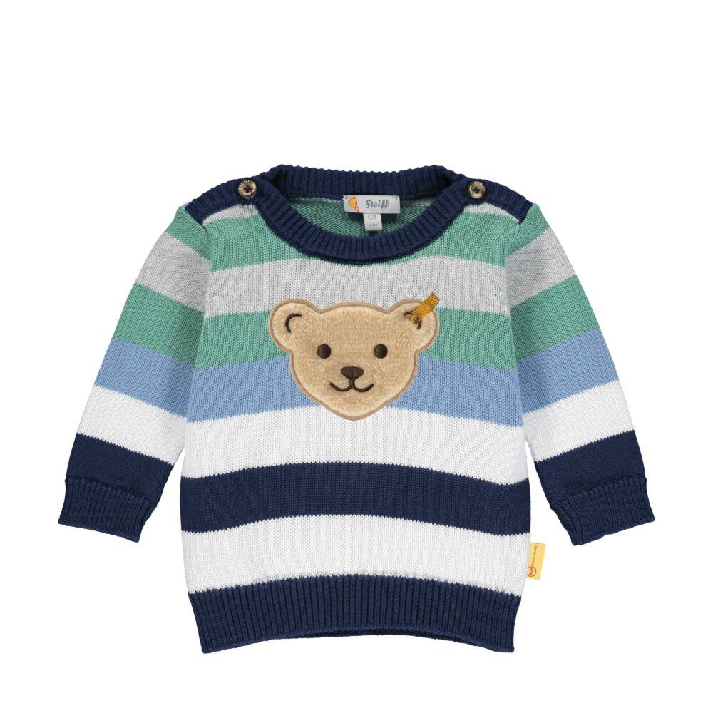 Steiff csíkos kötött pamut pulóver - Baby Boys - High 5! kollekcó kék  | Bunny and Teddy