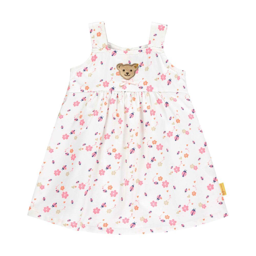 Steiff katicás és virág mintás ruha- Baby Girls - Bugs Life kollekcó fehér  | Bunny and Teddy